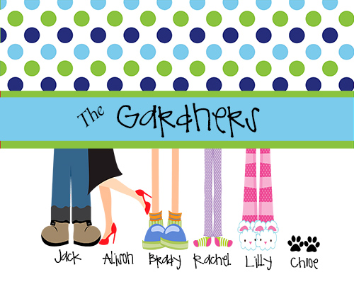 LARGE or EXTRA LARGE Personalized Blanket-Family Feet with Dog Paws