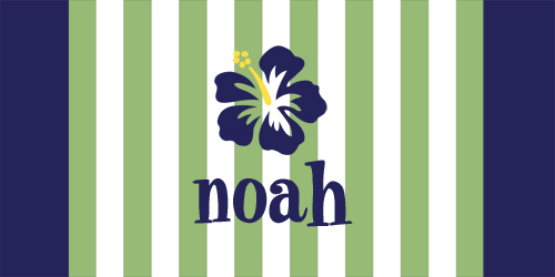 Beach Towels-Green Stripes with Surf Flower