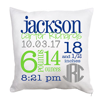 Throw Pillow-Baby Stats