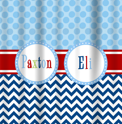 Shower Curtains-Blue Dot with Navy Chevron
