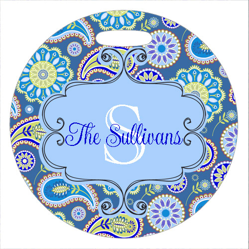 Bag Tags Plastic-Blue Paisley