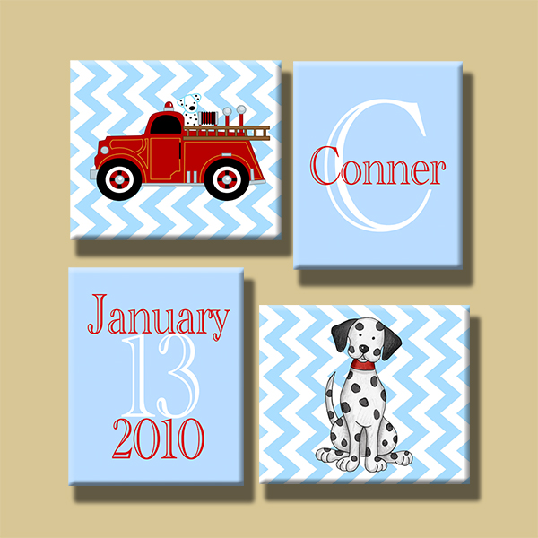 Canvas Gallery Wrap--Set of 4 Wall Art-Firetruck Chevron-Choose your sizes!
