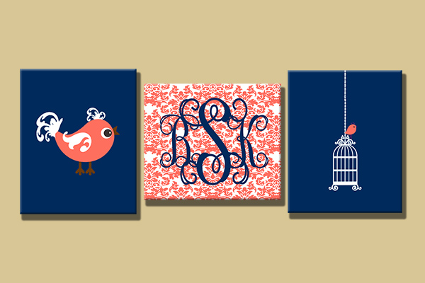 Canvas Gallery Wrap--Set of 3 Wall Art-Birdcage/Damask-Choose your sizes!