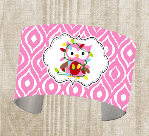 Cuff Bracelet-Christmas Pink ogee Owl