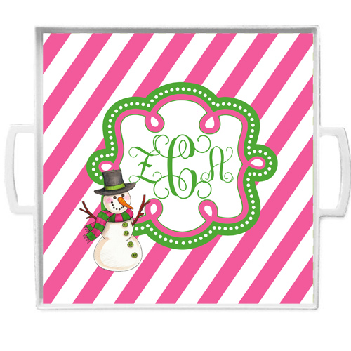 Christmas Tray-Pink Stripes with Snowman