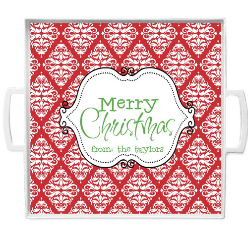 Christmas Tray-Red Damask