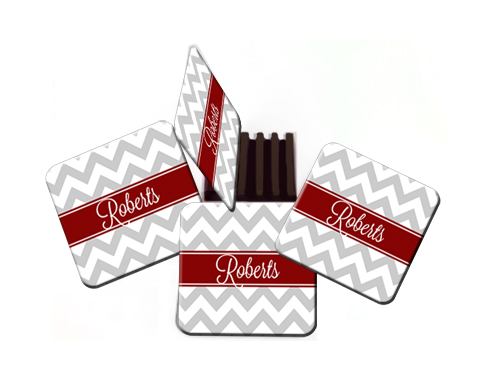 Coasters-Gray Chevron with Red Band