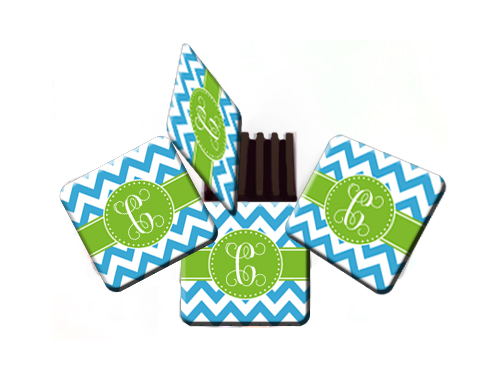 Coasters-Blue Chevron with Green