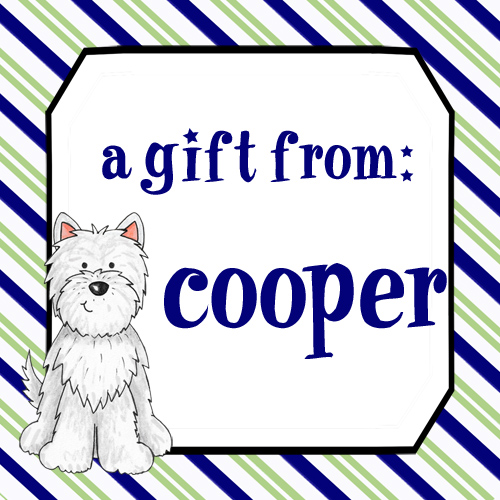 Gift Enclosure Cards-Green Navy Stripe Dog