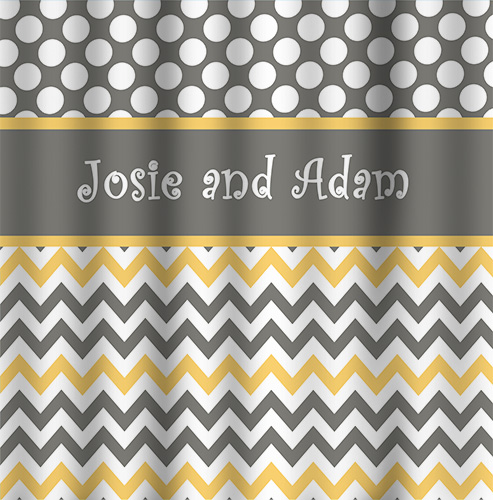 Shower Curtains-GREIGE and yellow Dot/Chevron