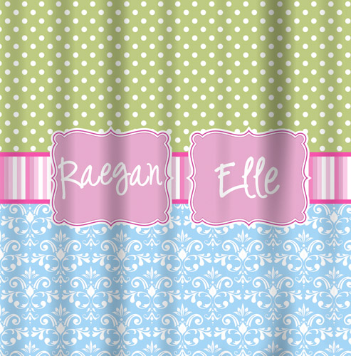Shower Curtains Green Mini Dot, Pink Stripe Band, Blue Damask