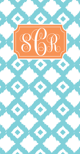 Beach Towels-ikat aqua and peach