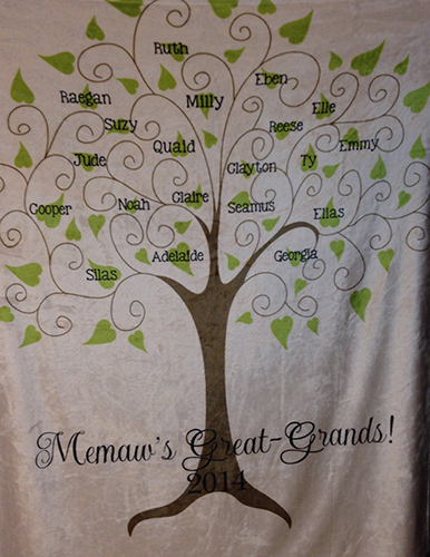 LARGE or EXTRA LARGE Personalized Blanket-Family Tree
