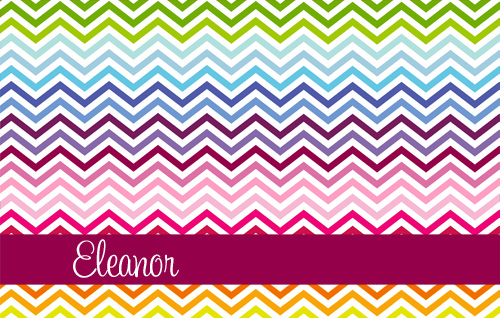 Placemat-Multi Rainbow Chevron