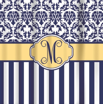 Shower Curtains Navy Butter Damask