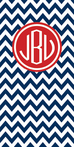 Beach Towels-Navy Chevron with Red frame