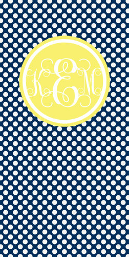 Beach Towels-Navy mini dots with Yellow Frame