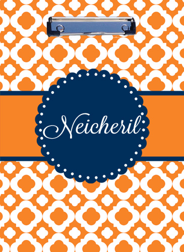Clipboard-Orange Quatrefoil with Navy Circle frame