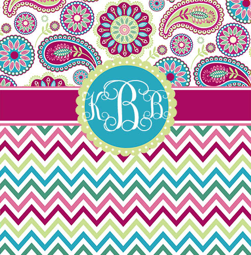 Shower Curtains-Paisley Top with Chevron Bottom