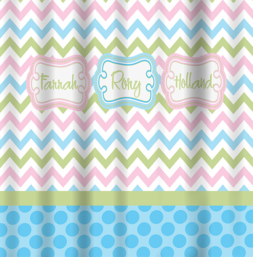 Shower Curtains-Pastel Chevron top, Bottom Dot