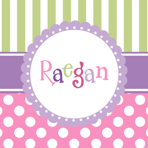 Bag Tags Plastic-Top stripes with polka dots girl