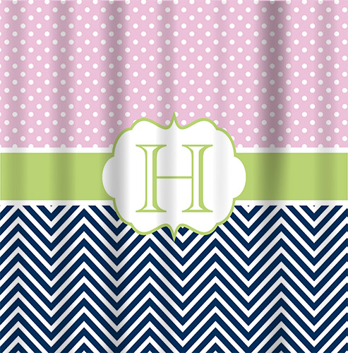 Shower Curtains-Navy Chevron, Pink Mini dot top with green band
