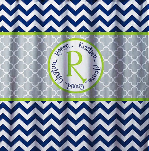 Shower Curtains-Chevron with quatrefoil band