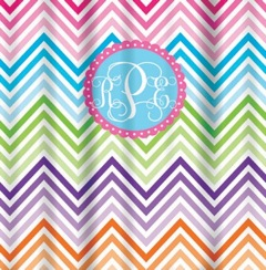 Shower Curtains-Rainbow Chevron