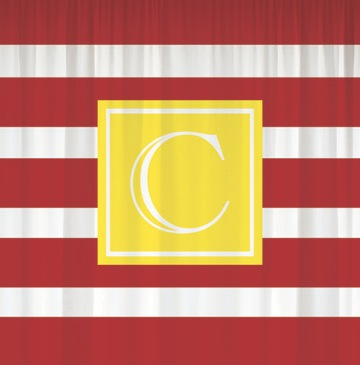Shower Curtains-Wide Red Stripes w/ Yellow