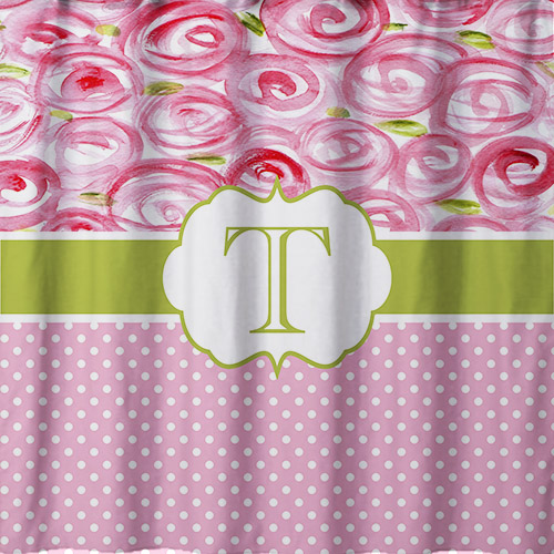 Shower Curtains-Rosey Top, Bottom Dot