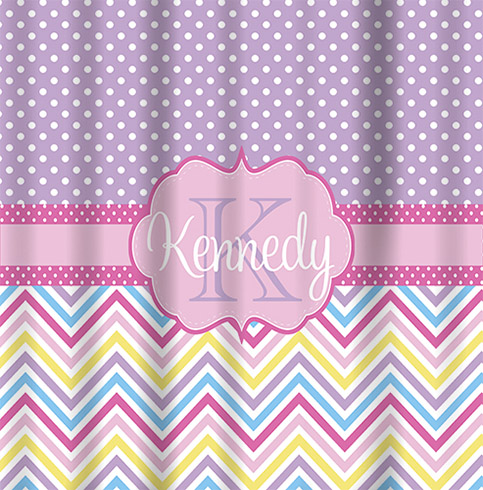 Shower Curtains-Spring Chevron with Mini Dots