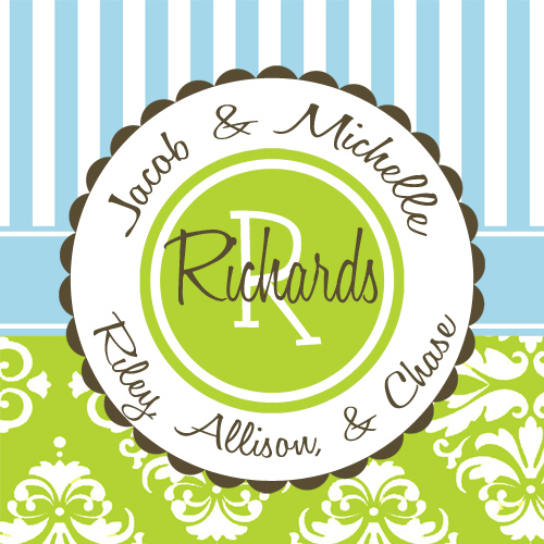 Gift Enclosure Cards-Green Damask Blue Stripe