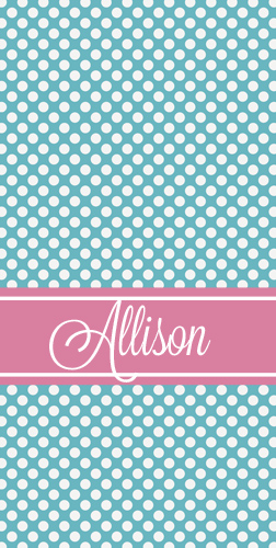 Beach Towels-Teal mini dots with Pink band
