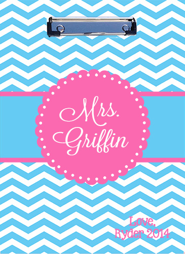 Clipboard-Aqua Chevron with Pink Round Frame