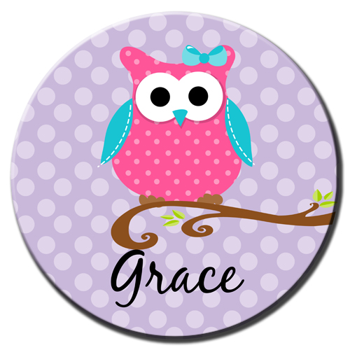 Plate-Purple Dot Owl