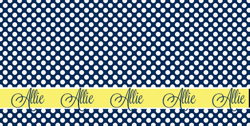Towel Spa Wraps-Mini Navy Dots with Yellow