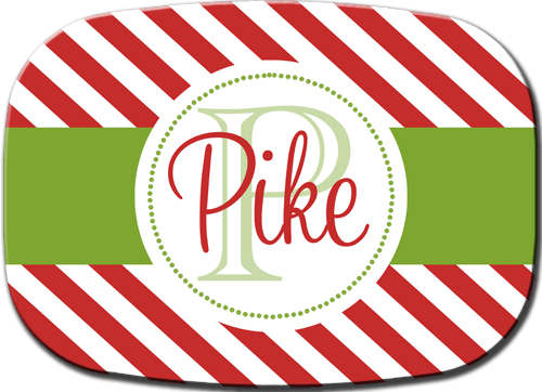 Christmas Platter-Red Diagonal Stripes Green Band